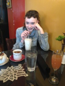 Cadi enjoying her drinks (including butterscotch soda) at the Tin Angel