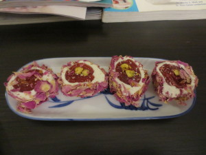 Turkish Delight coated in edible rose petals